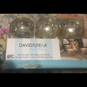 Glass tea light 6 pc gold tone